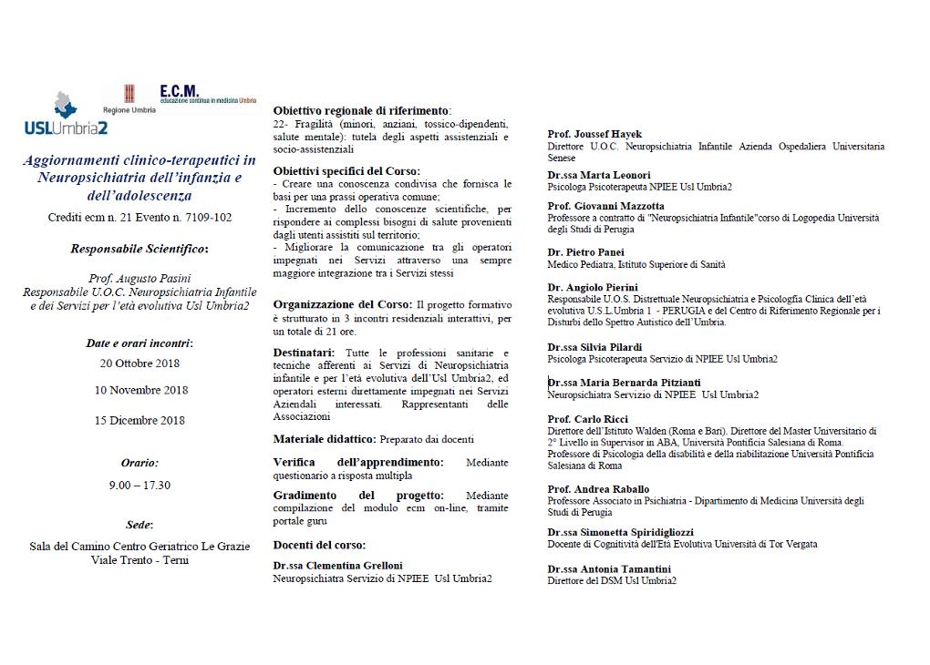 Aggiornamenti clinico-terapeutici in Neuropsichiatria dell'infanzia e dell'adolescenza