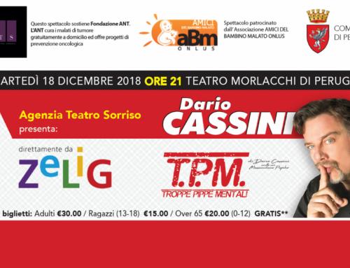 """ABM promuove spettacolo """"Troppe pippe Mentali"""" di Dario Cassini"""