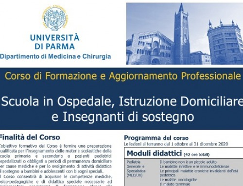 """Corso di formazione e aggiornamento professionale """"Scuola in Ospedale, Istruzione Domiciliare e Insegnanti di sostegno"""""""